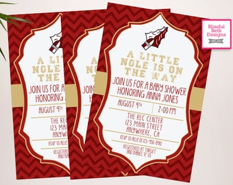 Garnet and Gold Baby Shower Invitation,  Baby Shower Invite, Noles Shower, Football Baby Shower