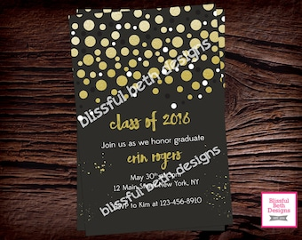GRADUATION PARTY INVITATION, Graduation Party Invite, Graduation Invitation, Gold Polka Graduation Invite, Shimmery Gold Polka,Printable