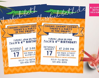 Gator Birthday Invite, Gator Birthday Invitation, Florida Birthday Invitation, Gator Shower, Gator Invitation, Florida Gators, Gators, UF