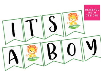 IT'S A BOY Banner, Lion Baby Shower Banner, Banner, Boy Banner, Shower Banner, Printable Banner, Printable Lion Banner, Lion, Roaring Banner