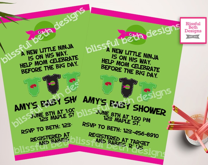 TMNT Girl Baby Shower, Ninja Girl Baby Shower Invitation, Ninja Shower Invitation, Ninja Invite, Baby Ninja Turtle, TMNT, Ninja Turtle Baby