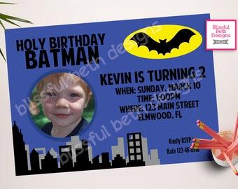 BATMAN INVITATION, Batman Birthday Invitation, Printable Batman Invitation, Printable Batman Photo Card, Batman Photo Invite
