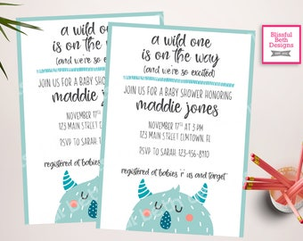WILD BABY SHOWER, A Wild One Baby Shower Invitation, Monster Baby Shower, Wild One Baby Shower, Wild One, Wild One On the Way