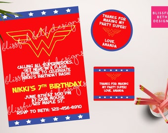 WONDER WOMAN BIRTHDAY,  Wonder Woman Printable Birthday Invitation, Wonder Woman , Wonder Woman Birthday, Wonder Woman Invitation