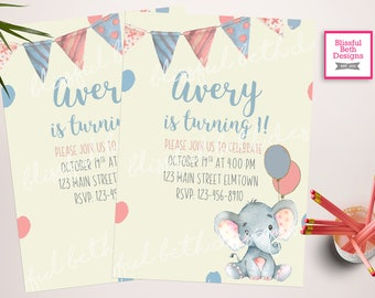 Baby Elephant Birthday Invitation, Elephant Birthday Invitation, First Birthday Invitation, Elephant Girl Birthday Invitation