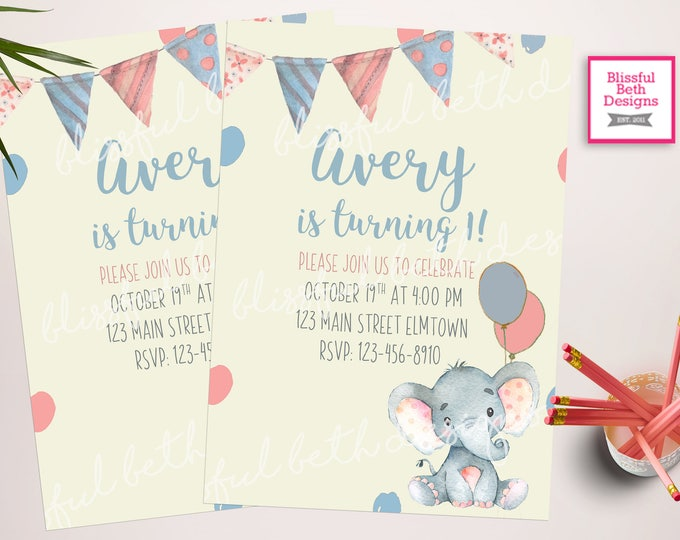 Baby Elephant Birthday Invitation, Elephant Birthday Invitation, First Birthday Invitation, Elephant Girl Birthday Invitation