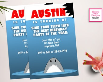 JAWS BIRTHDAY INVITATION Shark Birthday Invitation, Printable Shark Birthday Invitation, Shark Birthday, Jaws, Jaws Birthday Invite