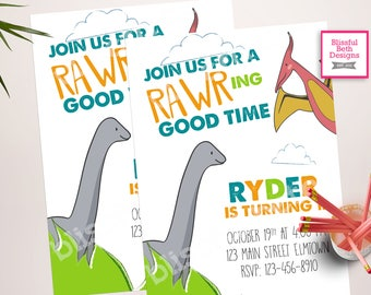 RAWRING GOOD TIME, Dinosaur Birthday Invitation, Dino Birthday Invite, Dinosaur Invitation, Dinosaur Birthday, Dinosaur First Birthday