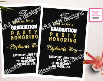 BLACK GRADUATION INVITATION Modern Graduation Invitation, Black and Gold Graduation Invitation, Graduation Invite, Gold & Black Grad Invite