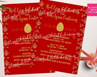 RED EGG INVITATION, Red Egg and Ginger Invitation, Red Egg & Ginger Party, Red Egg and Ginger, Red Egg Shower, Red Egg and Ginger Party