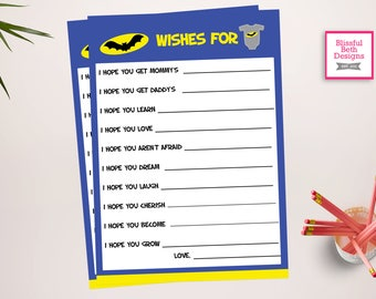 BATMAN WISH LIST, Batman Printable Wish List, Instant Download, Batman Wish List for Baby, Baby Shower Wish List , Batman Wish List