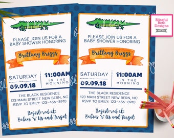 GATOR BABY SHOWER Gator Baby Shower Invitation, Florida Baby Shower Invite, Gator Shower, Gator Invitation, Alligator Baby Shower, Alligator