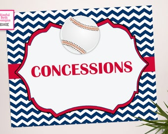 Concessions Sign - Baseball Concessions Sign - Baseball Birthday - Baseball Shower - Baseball Concessions - Party Concessions Sign
