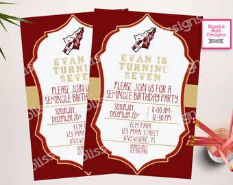 NOLE BIRTHDAY INVITE Nole Birthday Invite, Seminole Birthday Invite, Seminole Birthday, Florida State Birthday, Maroon and Gold Invite