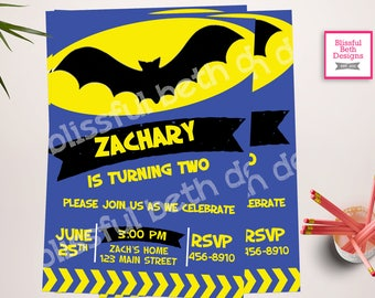 MODERN BATMAN INVITATION, Personalized Blue Batman Printable Birthday Invitation, Blue Batman, Batman Birthday, Bat Birthday, Batman