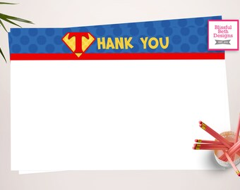 SUPERMAN THANK YOU Superman Printable Thank You Notes, Instant Download, Instant Superman Thank You Note, Thank You Note, Superman Note