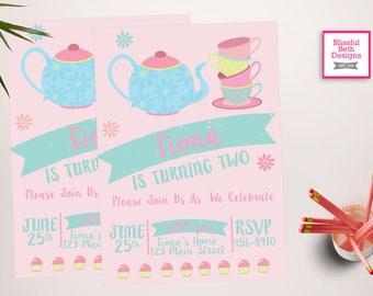 TEA PARTY INVITATION, Tea Party Birthday Invite, Printable Tea Party, Shabby Chic Tea Party Invitation, Par-tea Invitation, Tea Par-tea