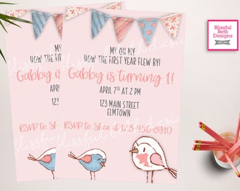 Little Bird Birthday Invitation | Spring Bird Birthday Invitation| Spring Birthday Invite