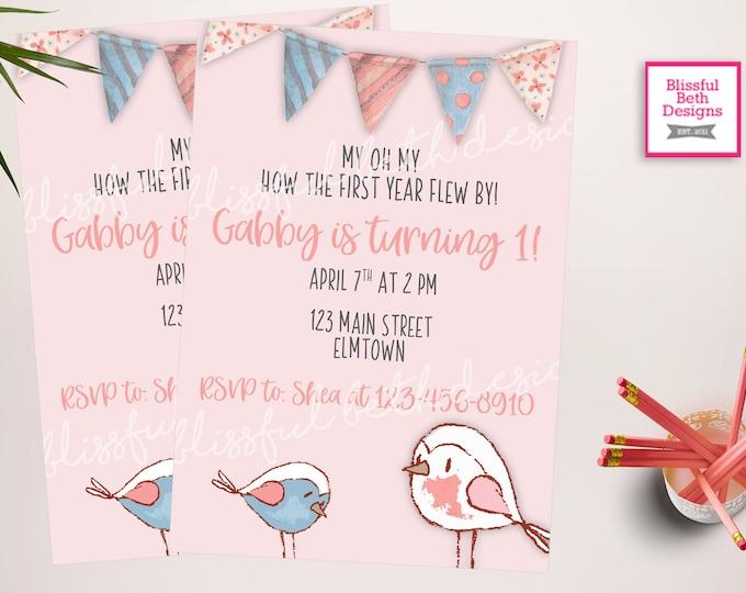 Little Bird Birthday Invitation | Spring Bird Birthday Invitation| Spring Birthday Invite