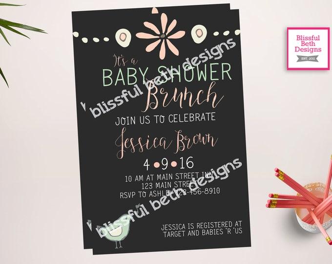 BABY SHOWER BRUNCH, Baby Shower Brunch Invitation, Brunch Invitation, Baby Shower Invitation, Shower Brunch, Chalk Invitation, Baby Brunch