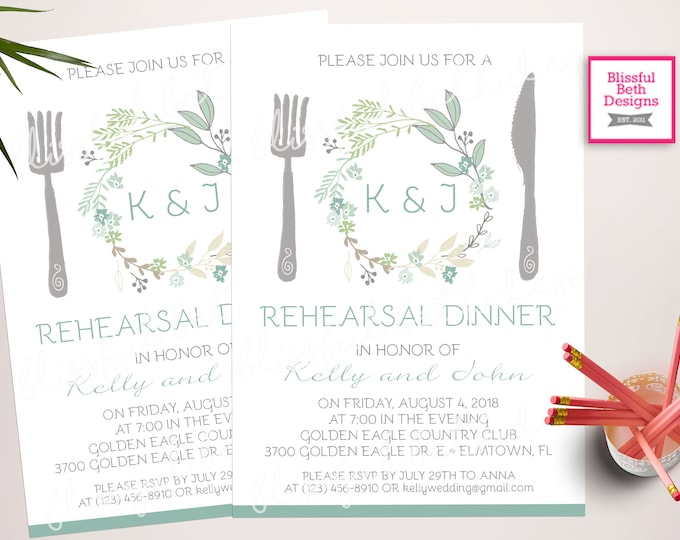 Greenery Wedding Rehearsal Dinner Invitation, Printable Rehearsal Invitation, Rehearsal Invitation, Wedding Rehearsal Dinner Invitation