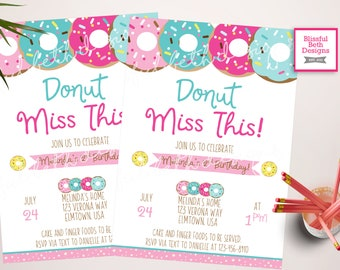 DONUT BIRTHDAY INVITATION, Donut Miss This,  Donut Invitation, Donut Birthday Invite, Donut Birthday, Donut, Donut Birthday Girl