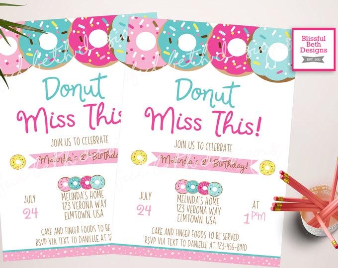 DONUT BIRTHDAY INVITATION, Donut Miss This,  Donut Invitation, Donut Birthday Invite, Donut Birthday, Donut, Donut Birthday Girl