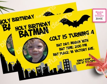 PERSONALIZED BATMAN INVITATION Personalized Batman Birthday Invitation, Printable Batman Invitation, Personalized Batman Photo Card