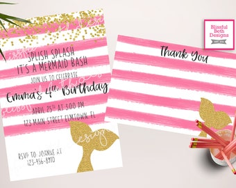 MERMAID BIRTHDAY INVITATION, Mermaid Bash Invitation, Mermaid Birthday, Splish Splash Mermaid Bash, Mermaid, Mermaid Invitation