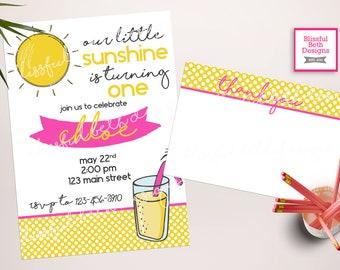 SUNSHINE BIRTHDAY INVITATION, Lemonade Birthday Invitation, You Are My Sunshine, Sunshine and Lemonade Invitation, First Birthday Invitation