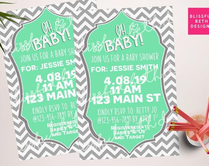 Chevron Baby Shower, Green Baby Shower Invitation, Modern Baby Shower Invitation, Oh Baby Invitation, Oh Baby, Chevron Invitation