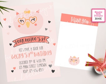 Owl Birthday Invitation | Look Whooo's Two Owl Birthday Invitation | Owl Birthday Invite | Owl Party | Girl 2nd birthday