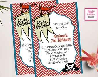 PERSONALIZED PIRATE INVITATION Pirate Birthday Invitation, Printable Pirate Birthday Invitation, Personalized Pirate Invite