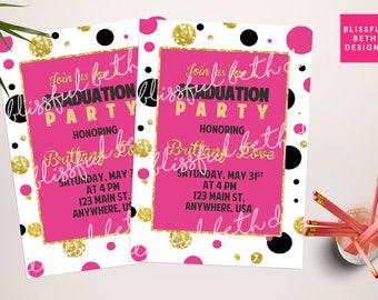 PERSONALIZED GRADUATION INVITATION Modern Graduation Invitation, Dotted Graduation Invitation, Glitter Graduation, Pink & Black Grad Invite