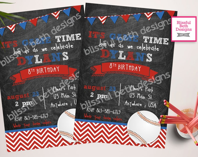 BASEBALL BIRTHDAY INVITATION  Baseball Birthday Invitation, Printable Baseball Birthday Invitation, Baseball Birthday Invite, Baseball