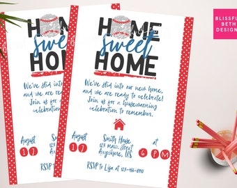 BASEBALL HOUSEWARMING INVITATION, Housewarming Invitation, Baseball House Warming,  Home Sweet Home, Slide Into Home, Housewarming