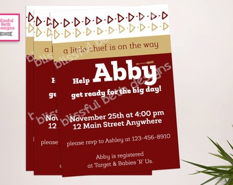 Garnet and Gold Baby Shower Invitation, Garnet and Gold Baby Shower Invite, Baby Shower, Football Baby Shower