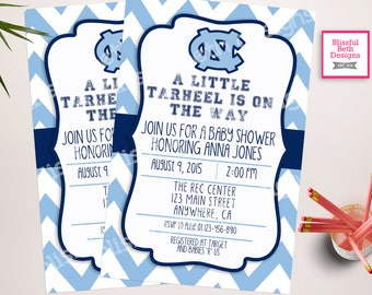 Tar Heel Baby Shower, Tar Heel Baby Shower Invite, Tar Heel Shower Invite, Tar Heel Shower, Tar Heel Baby Shower