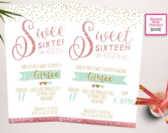 Sweet 16 Invitation, Rose Gold Birthday invitation for girls, Digital Glitter 16th invite, Teen Glam Birthday Party Invitations Printable