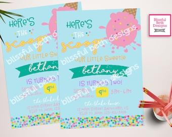 Ice Cream Birthday Invitation, Here's the Scoop Birthday Invitation, Printable Ice Cream Invitation, Here's the Scoop, Ice Cream Birthday