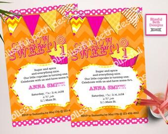 BIRTHDAY CUPCAKE INVITATION Modern Cupcake Birthday Invitation, Cupcake Invitation, Orange and Pink Birthday Invitation, Cupcake Invite