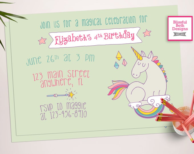 UNICORN BIRTHDAY INVITATION, Printable Unicorn Invitation, Girly Unicorn Invitation, Unicorn Photo Invitation, Magical, Pastel Unicorn