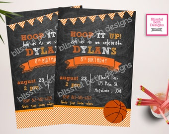 BASKETBALL BIRTHDAY INVITATION Basketball Birthday Invitation, Printable Bball Birthday Invitation, Basketball Birthday Invite, Basketball