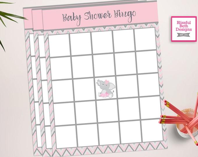 ELEPHANT TUTU BINGO, Baby Shower Bingo, Elephant Bingo, Baby Bingo, Elephant Baby Shower, Pink and Gray Bingo, Bingo, Baby Shower Bingo Game
