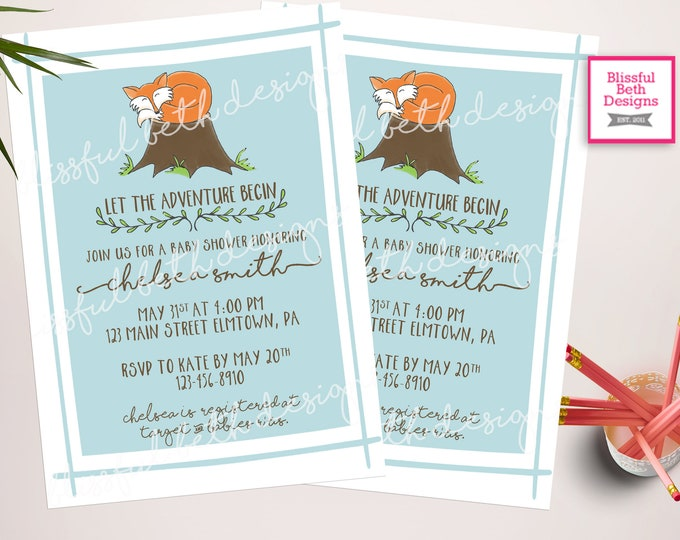FOX BABY SHOWER, Fox Invitation, Let the Adventure Begin, Baby Shower Invitation, Fox Shower, Fox, Fox Baby, Woodland Baby Shower