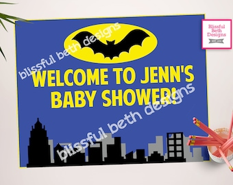 Batman Shower Welcome Sign - Personalized Baby Shower Welcome Printable-Customizable  Sign for Batman Shower Party, Batman Welcome Sign
