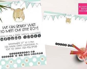 BEARLY WAIT SHOWER, We Can Bearly Wait Baby Shower Invitation, Baby Bear Shower, bear baby shower, bear shower, bearly wait, boy baby shower