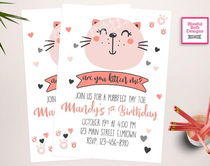 Are You Kitten Me?, Kitty Cat First Birthday, Purffect Birthday, Cat Birthday, Kitten Birthday,  First Birthday Invitation, Kitten
