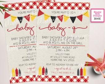 BABY-Q Shower Invitation, Baby bbq shower, bbq shower, backyard bbq invitation, Baby-Q Invite, barbecue invitation, BABY-Q Invitation
