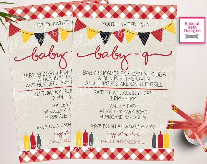BABY-Q Shower Invitation, Baby bbq shower, bbq shower, backyard bbq invitation, Baby-Q Invite, barbecue invitation, BABY-Q Invitation